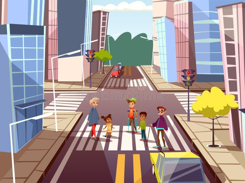 conceito de cruzamento da estrada dos povos dos desenhos animados ilustração do vetor