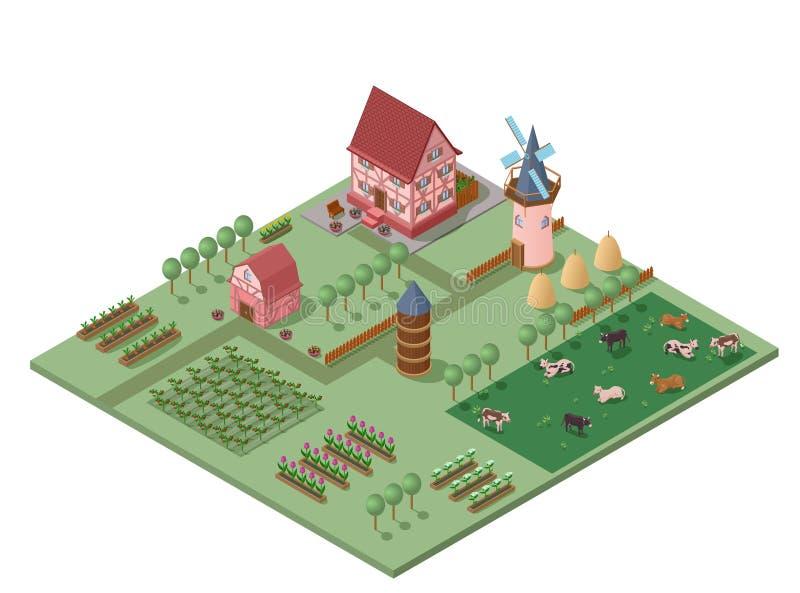 Conceito de cultivo colorido isométrico ilustração stock