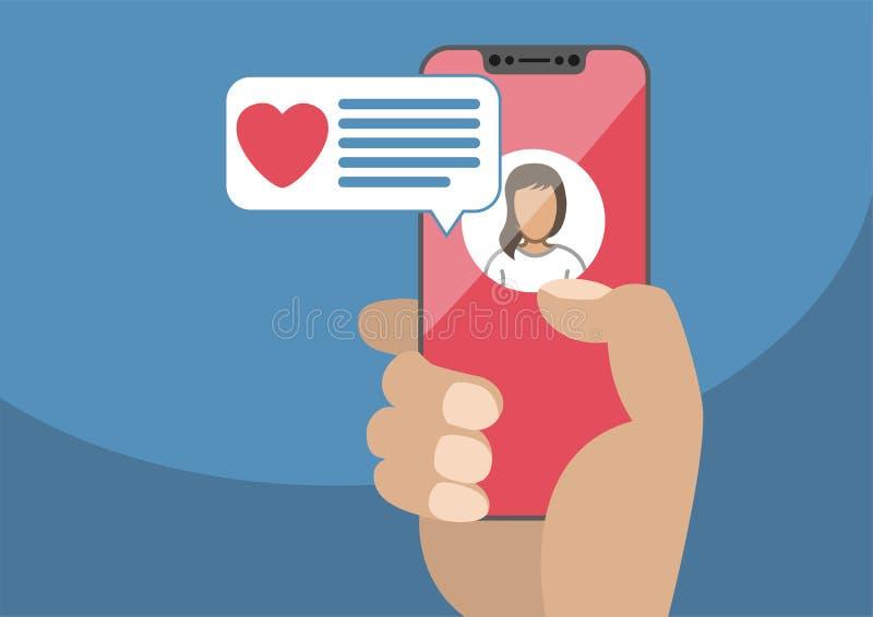 Conceito de datar em linha e de bate-papo móvel app Mão masculina que guarda moderna ilustração royalty free