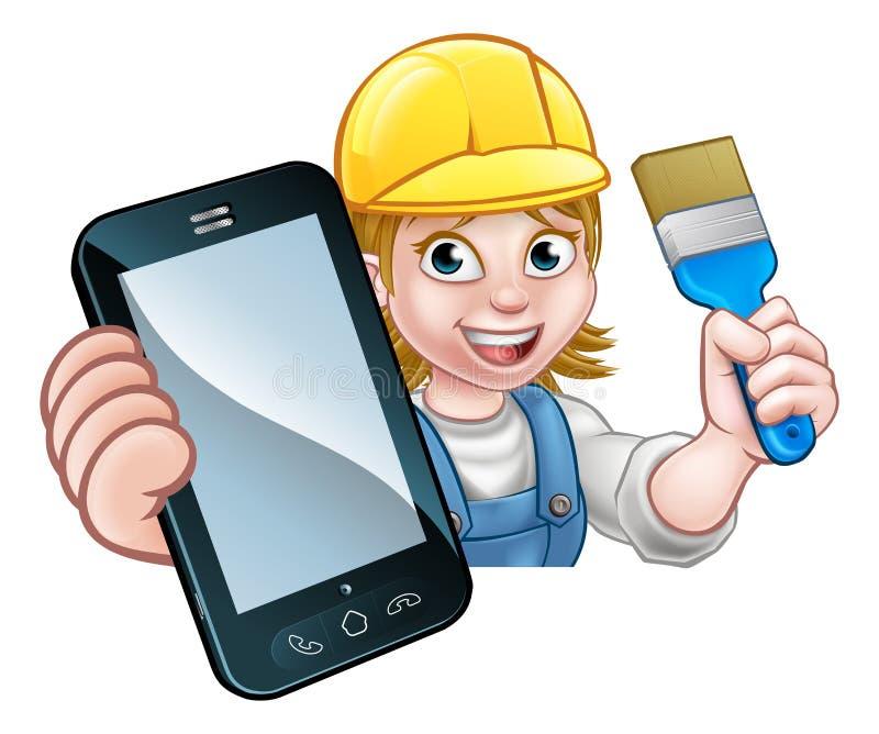 Conceito de Decorator Handyman Phone do pintor ilustração royalty free