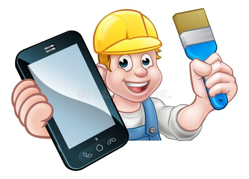 Conceito de Decorator Handyman Phone do pintor ilustração do vetor
