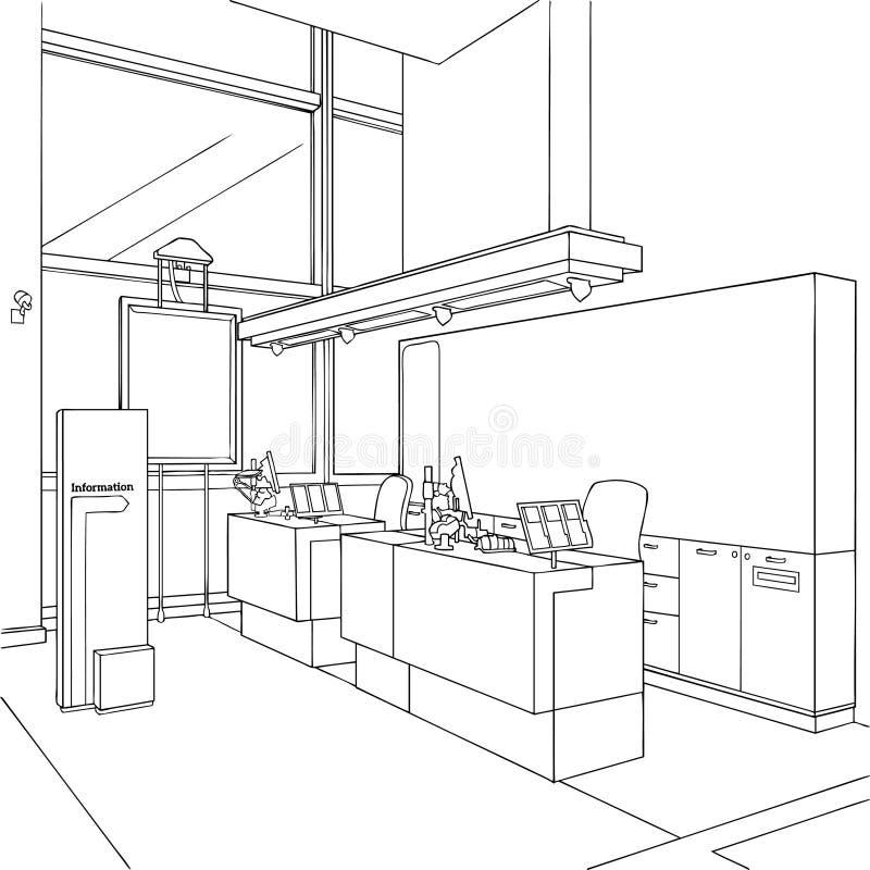 Conceito de design de interiores do painel de centro da informação ilustração stock