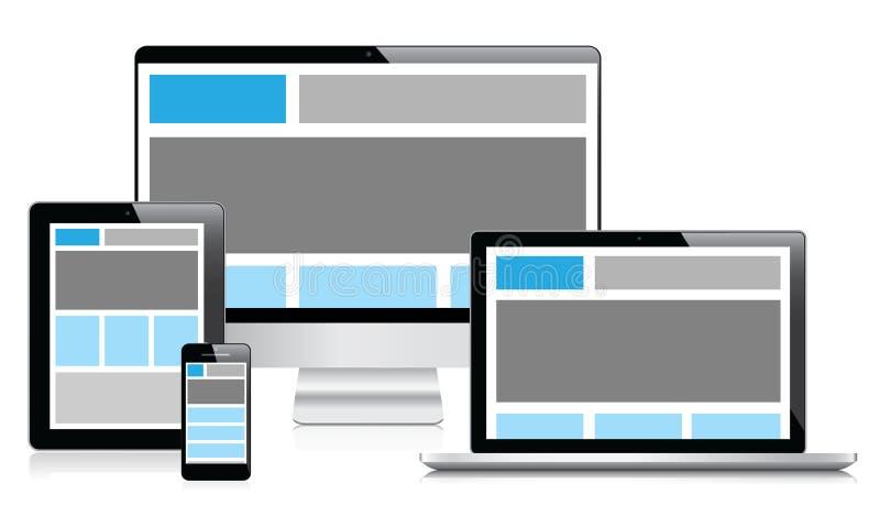 Design web inteiramente responsivo nos dispositivos electrónicos   ilustração do vetor