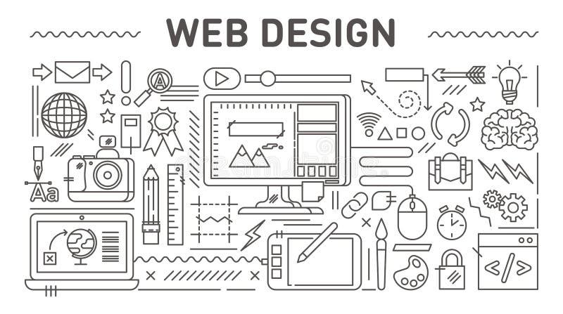Conceito de design web, linha ilustração do vetor do estilo ilustração do vetor