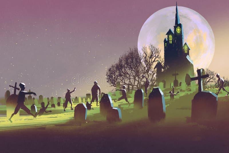 Conceito de Dia das Bruxas, cemitério com os zombis na noite ilustração do vetor