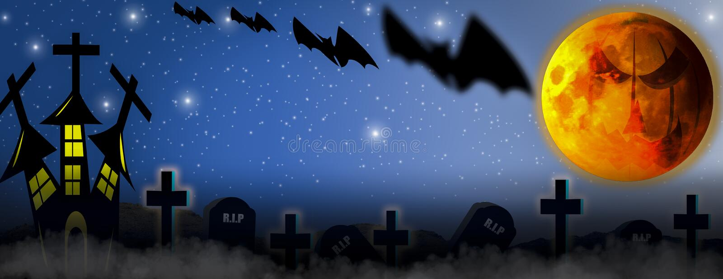 Conceito de Dia das Bruxas com o horror da noite, enchido com a névoa e com os castelos e as sepulturas completamente dos crucifi ilustração do vetor