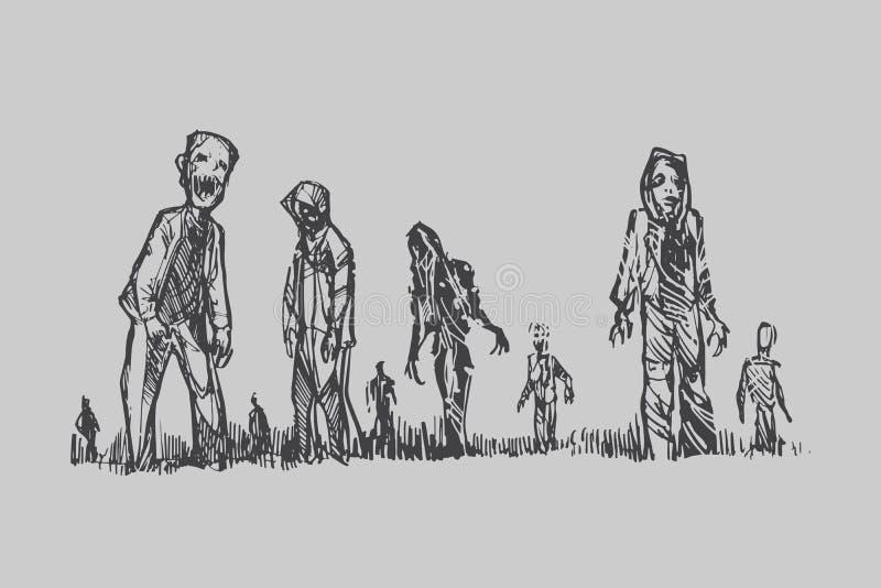 Conceito de Dia das Bruxas da multidão do zombi que anda em torno da cidade ilustração royalty free