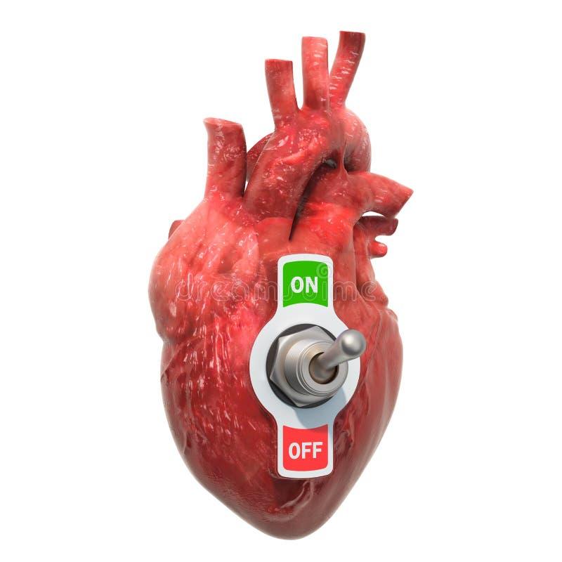 Conceito de doença cardíaca Coração humana com interruptor de alternância renderização 3D ilustração do vetor