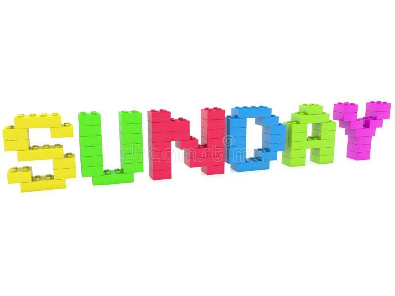 Conceito de domingo construído dos tijolos do brinquedo ilustração royalty free