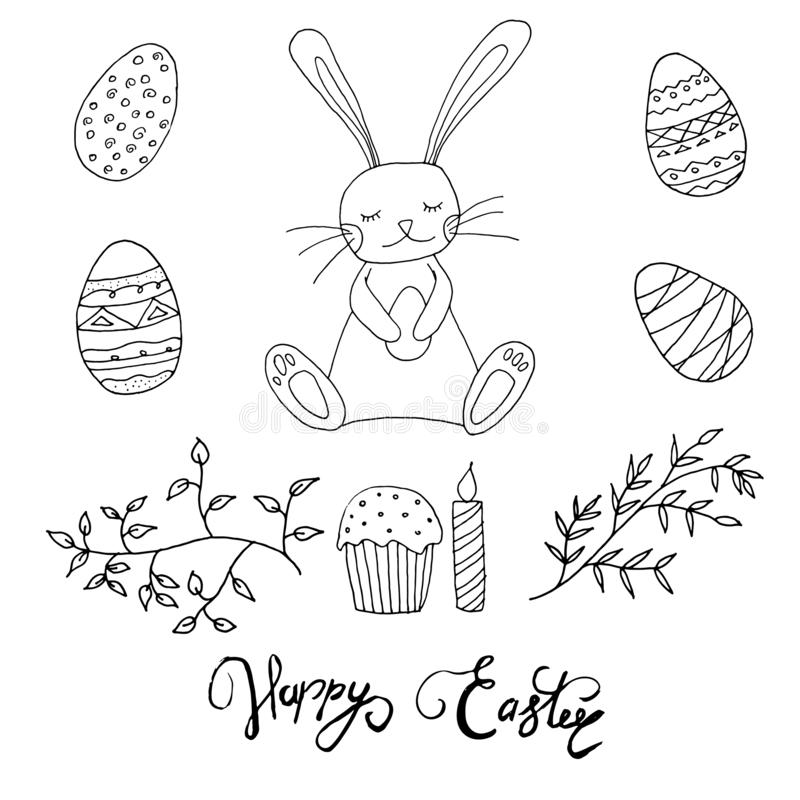 Conceito de Easter Coelho com ovos, bolo, vela e folhas O livro para colorir das crianças da Páscoa ilustração do vetor