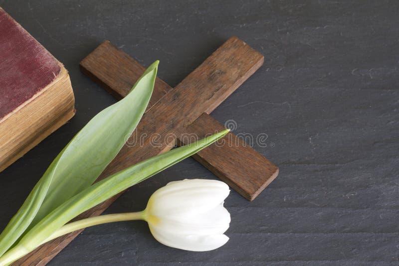 Conceito de easter da tulipa e da cruz da mola foto de stock