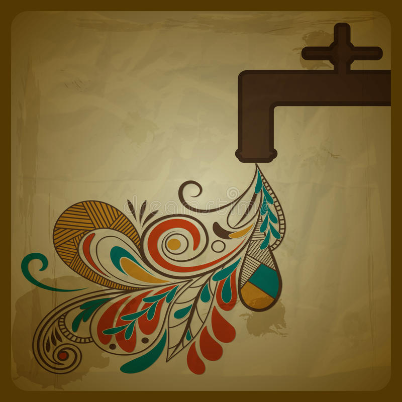 Conceito de Eco com uma torneira de água ilustração royalty free