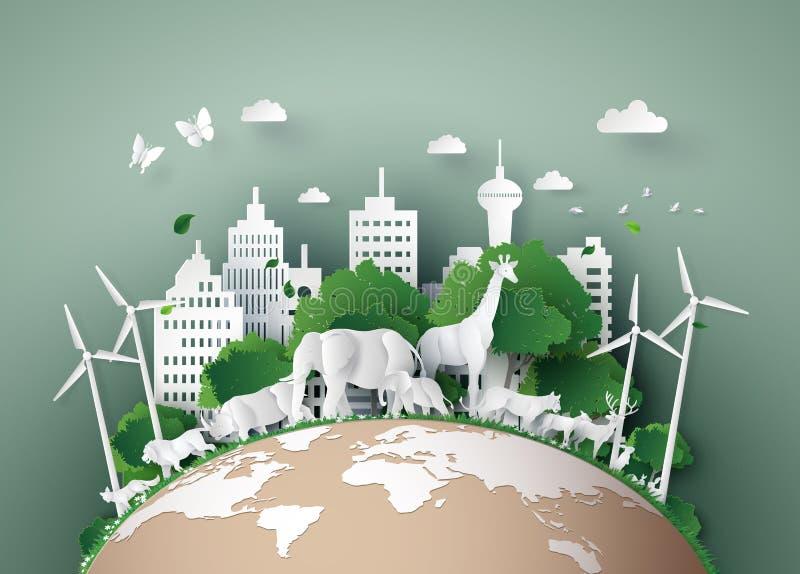 Conceito de Eco e dia dos animais selvagens do mundo ilustração royalty free
