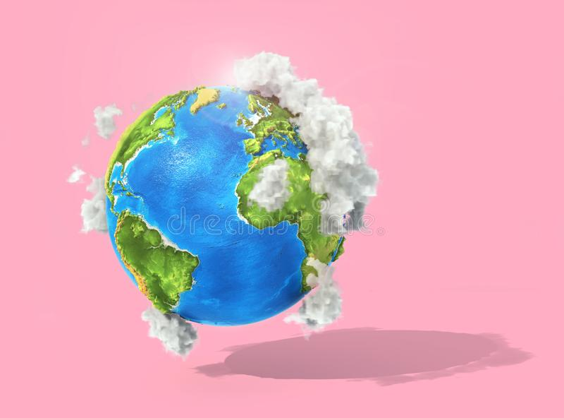Conceito de Eco planeta 3d com nuvens em um fundo pastel ilustração do vetor