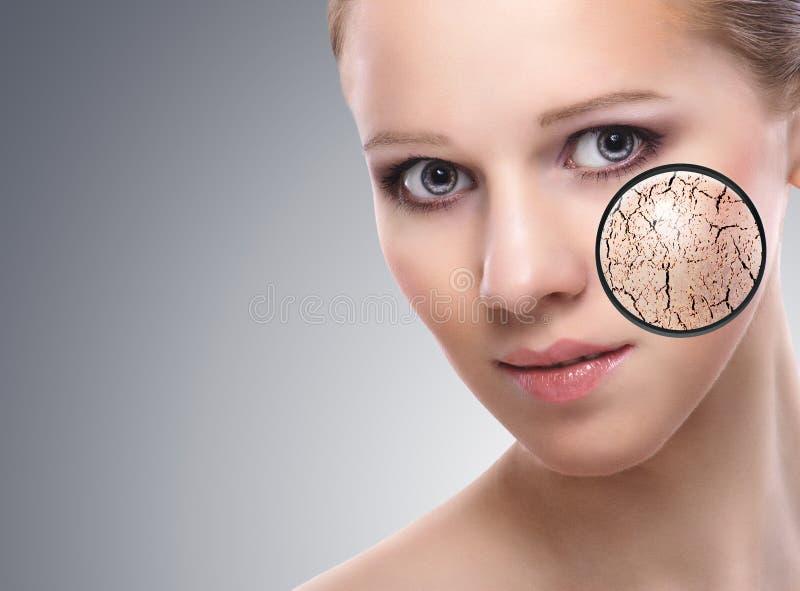 Conceito de efeitos cosméticos, tratamento, cuidado de pele foto de stock
