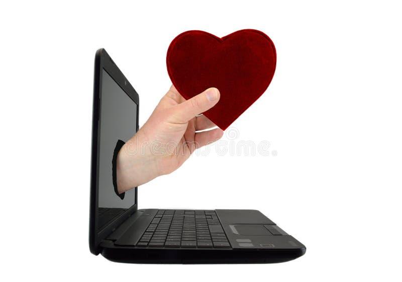 Conceito de encontrar o amor em linha fotos de stock