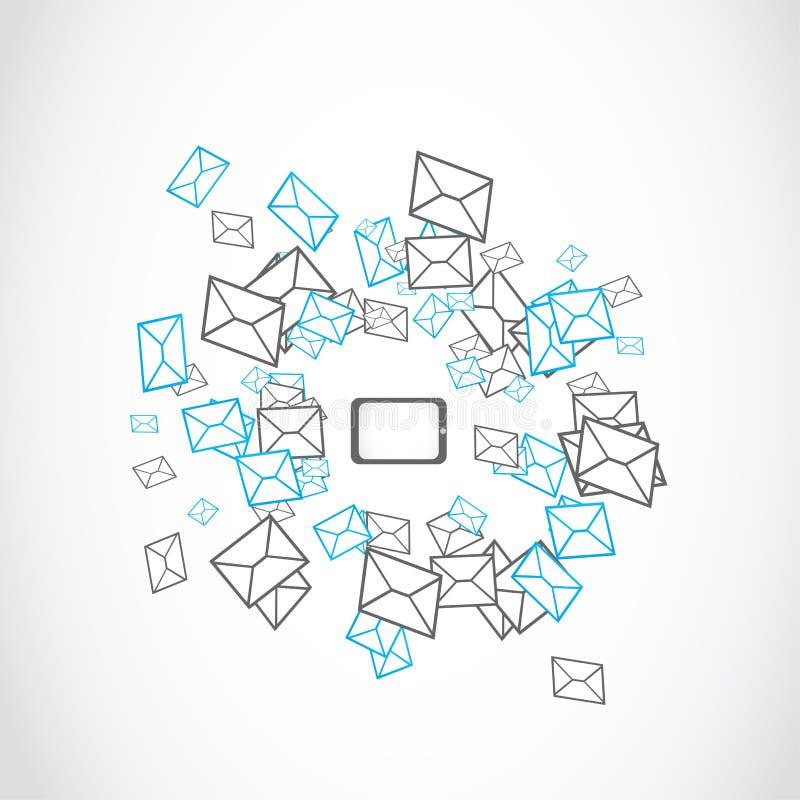 Conceito de envio pelo correio da mensagem da tabuleta do portátil ilustração do vetor