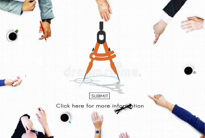 Conceito de esboço do negócio das ferramentas da arquitetura do compasso ilustração stock