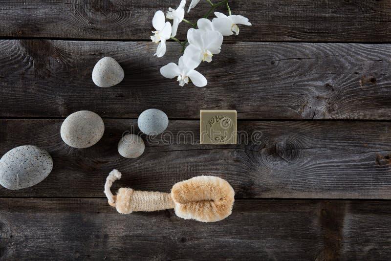 Conceito de escovadela seco com a escova da bucha no fundo de madeira rústico fotos de stock royalty free