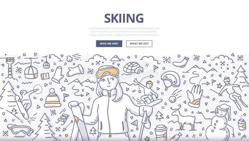 Conceito de esqui da garatuja ilustração royalty free