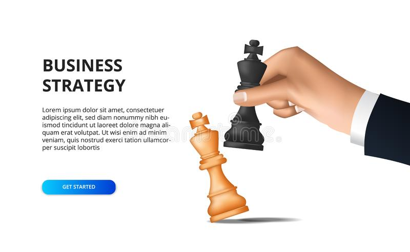 Conceito de estratégia empresarial objetivo de sucesso com plano e tática ilustração checkmate mão segurando xadrez ilustração do vetor