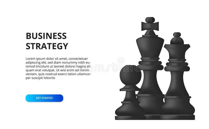Conceito de estratégia empresarial plano tático para o sucesso ilustração do xadrez, peão, rei, rainha preto ilustração royalty free