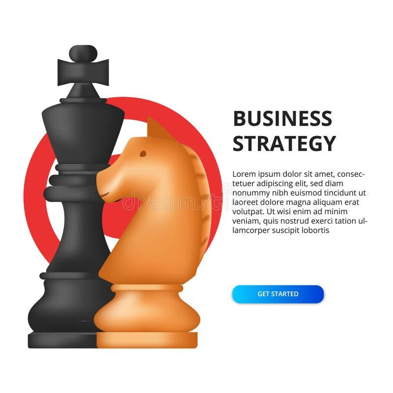 Conceito de estratégia empresarial sucesso de meta de marketing para financiamento ilustração do xadrez, rei, cavalo ilustração do vetor