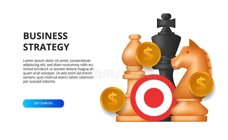 Conceito de estratégia empresarial sucesso de meta de marketing para financiamento ilustração do xadrez, rei, cavalo, dinheiro do ilustração stock