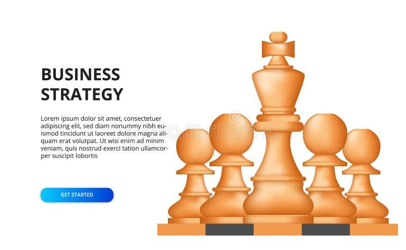 Conceito de estratégia empresarial tática de planejamento de metas financeiras para o sucesso ilustração do peão de xadrez no tab ilustração stock