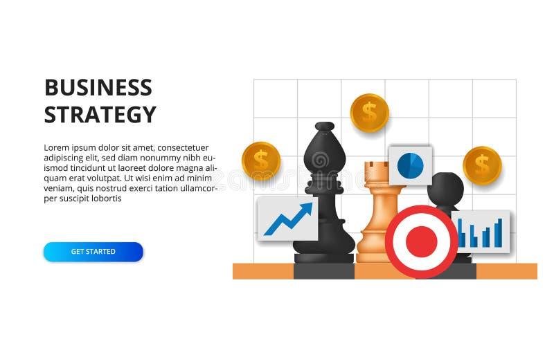 Conceito de estratégia empresarial tática de planejamento de metas financeiras para o sucesso ilustração do peão de xadrez no tab ilustração do vetor