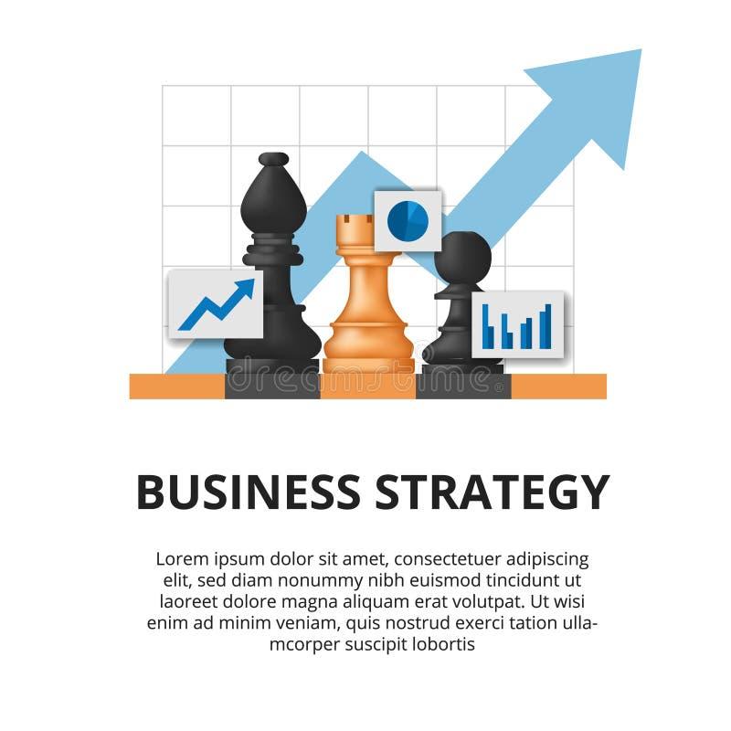Conceito de estratégia empresarial tática de planejamento de metas financeiras para o sucesso ilustração do peão de xadrez no tab ilustração royalty free