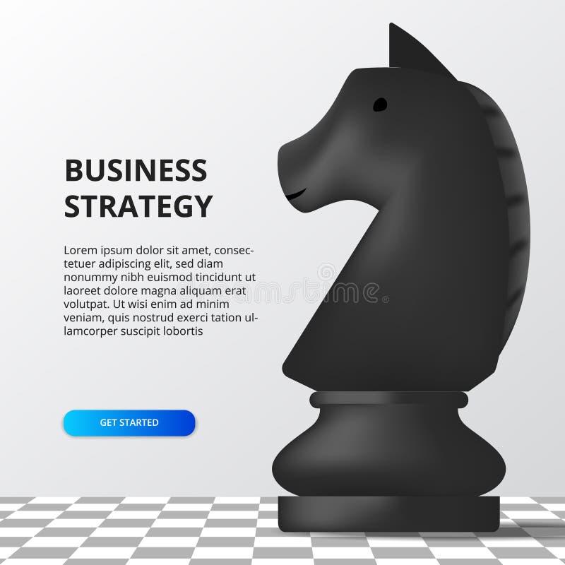 Conceito de estratégia empresarial tática de planejamento de metas financeiras para o sucesso ilustração do xadrez de cavalo com  ilustração stock