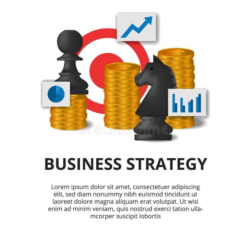 Conceito de estratégia de financiamento de marketing Tática do objetivo de sucesso do plano de negócios ilustração do xadrez, peã ilustração royalty free