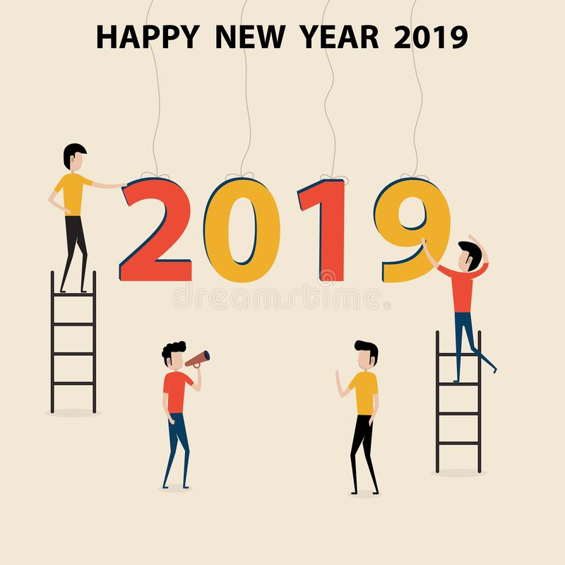 Conceito 2019 de executivos do personagem de banda desenhada & do ano novo feliz ilustração stock