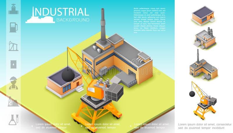 Conceito de fabricação industrial isométrico ilustração royalty free