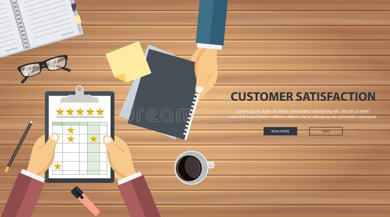 Conceito de feedback, mensagens de testemunhos e notificações Classificação na ilustração do serviço ao cliente ilustração stock