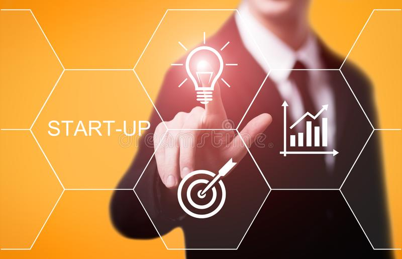 Conceito de financiamento Start-up da tecnologia do negócio do Internet do empreendimento do capital de risco do investimento de  fotografia de stock royalty free