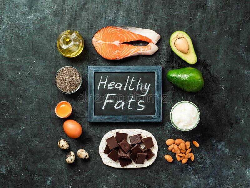 Conceito de fontes saudável das gorduras, vista superior fotografia de stock