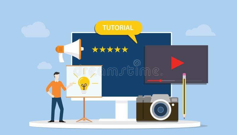 Conceito de formação tutorial profissional do desenvolvimento ou da criação com povos dos homens e vídeo da câmera - vetor ilustração do vetor