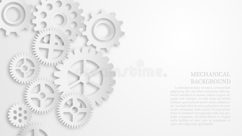 Conceito de fundo da arte mecânica branca abstrata Estilo de recorte de papel ilustração royalty free