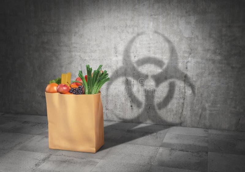 Conceito de GMO Alimento do perigo Embale completamente da sombra do molde dos produtos no formulário do sinal do biohazard 3d ilustração stock