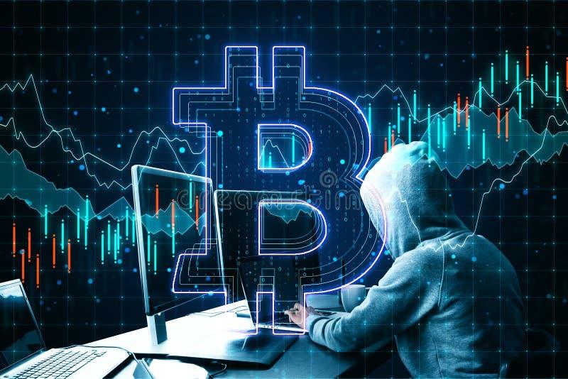 Conceito de hackeamento com hackers usando sinal de laptop e bitcoin no plano de fundo do gráfico de negócios imagens de stock
