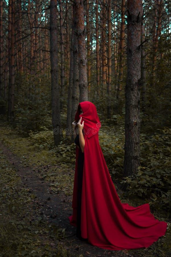 Conceito de Halloween Uma bruxa no vermelho entre imagem de stock royalty free