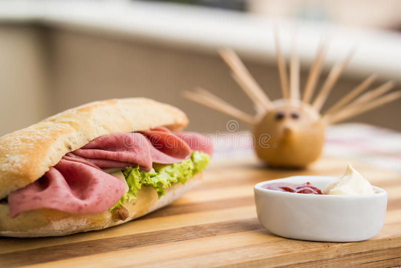 Conceito de Ham Sandwich/fast food imagem de stock royalty free