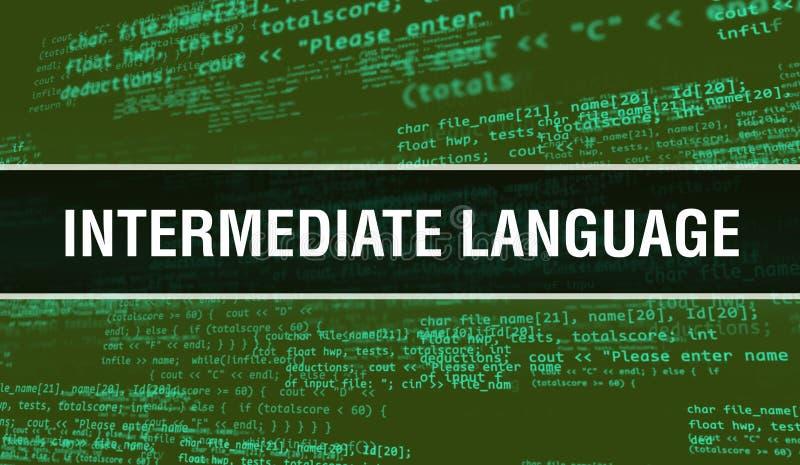 Conceito de idioma intermediário com partes aleatórias do código do programa Idioma intermediário com tecnologia abstrata de códi imagens de stock royalty free