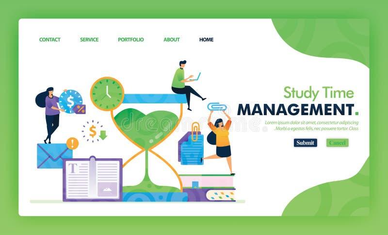 Conceito de ilustração da página inicial de volta à escola de gestão do tempo de estudo Estudo Educacional para marketing e promo ilustração royalty free