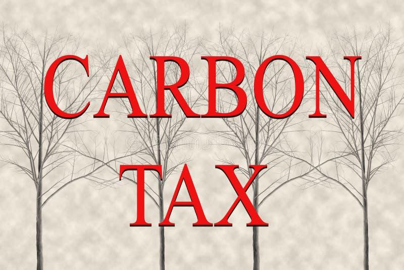 Conceito de imposto sobre o carbono que é aplicado ao teor de carbono dos combustíveis e, como as emissões de carbono imagens de stock