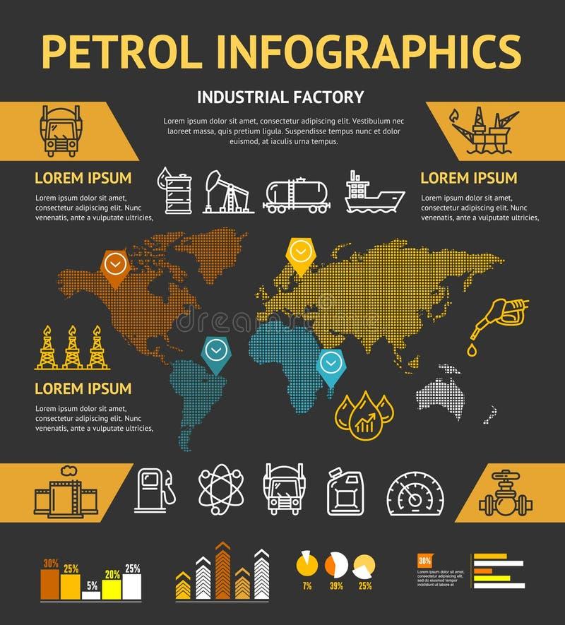 Conceito de Infographic do negócio da indústria petroleira da gasolina Vetor ilustração royalty free