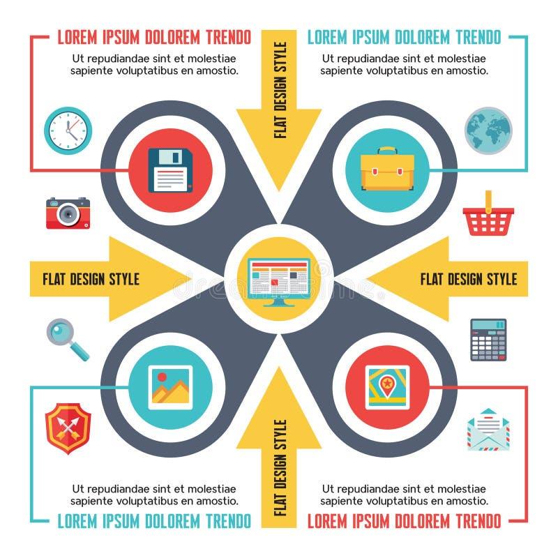 Conceito de Infographic para a apresentação no estilo liso do projeto - esquema do vetor com ícones ilustração stock