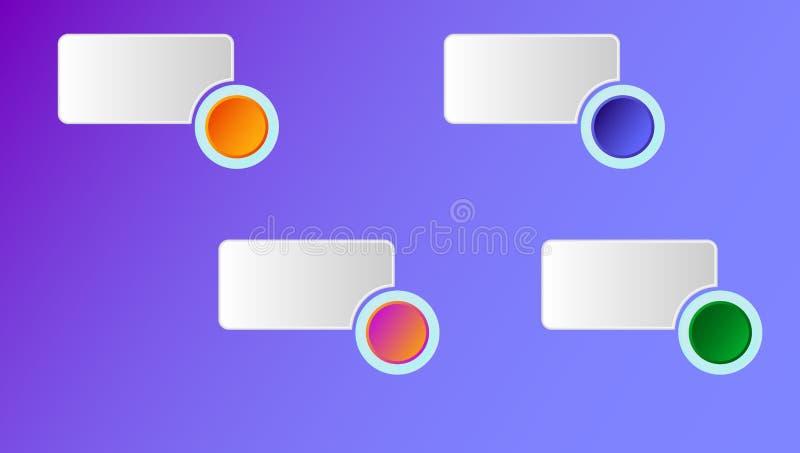 Conceito de Infographics com os quatro pictograma redondos mensagem e porcentagens apropriadas dos botões de opção Ilustra??o do  ilustração do vetor